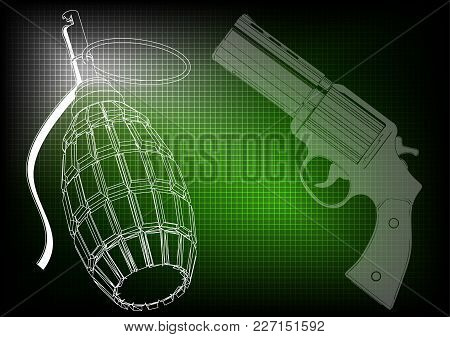 Grenade And Pistols On A Green Background