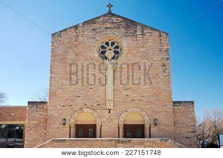 Church Nave Exterior And Double Door Entrances In West Saint Paul Minnesota