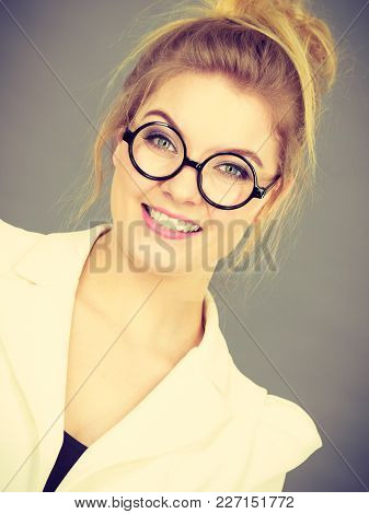 Portrait Of Happy Positive Business Woman Wearing Eyeglasses, Accountant Or Teacher, Enjoying Her Wo