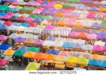 Top Of Walking Night Market Multiple Colour, Cityscape Background