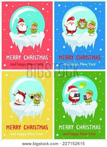 Merry Christmas And Happy New Year Postcard Santa And Elf Sending Greeting, Jumping From Joy, Listen
