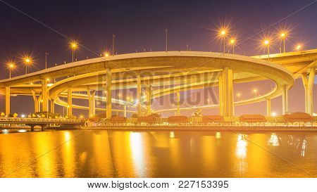 Round Highway Intersection Water Front Night View And River Front