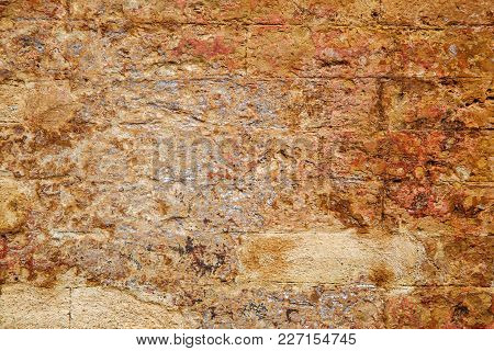 Empty Old Brick Wall Texture. Painted Wall Surface. Grungy Brick Wall. Building Facade With Damaged
