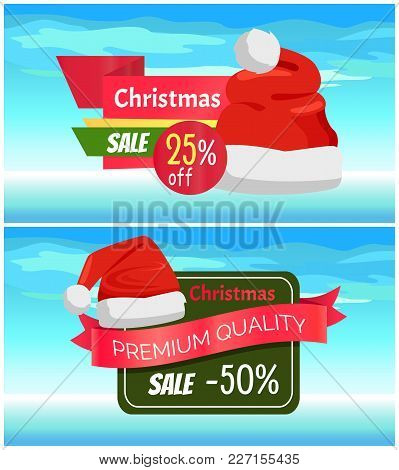 Premium Quality Half Price Christmas Sale Posters, Vector Illustrations With Santa S Hats With White