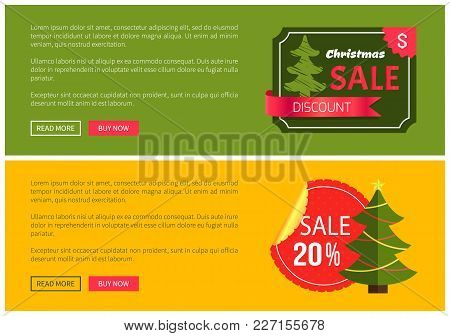 Hot Prices Christmas Sale Buy Now Posters Vector Illustration With Promotion Text, Red Sticker And R