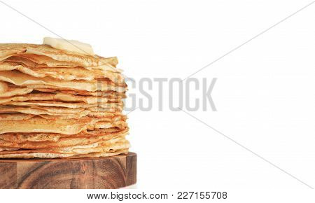 Stack Of Traditional Russian Pancakes Blini Isolated On White Background With Copy Space. Homemade R