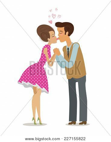 Couple In Love Kissing Tenderly On Lips. Romantic Date, Kiss Concept. Cartoon Vector