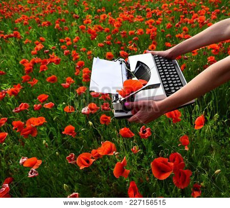 Vintage Typewriter In Hand, Education, Business, Grammar. Poppy, New Technology, Remembrance Day. Jo