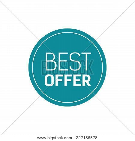 Best Offer Lettering. Creative Inscription In Blue Circle With Frame. Handwritten Text, Calligraphy.