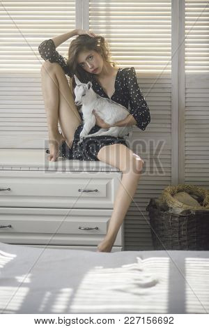 Girl With Baby Sheep On Chest Of Drawers. Young Woman Cuddle Small Lamb In Bedroom. Pet, Domestic An