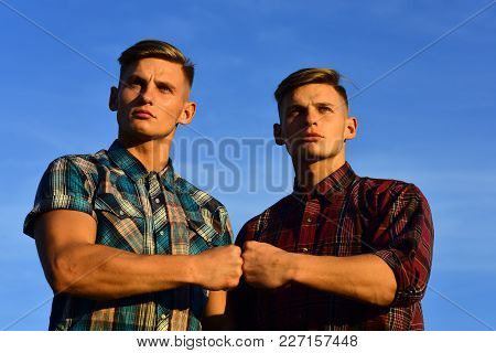 Men Twins In Sunset Or Sunrise, Friendship. Men Twins With Athletic Body, Family Values