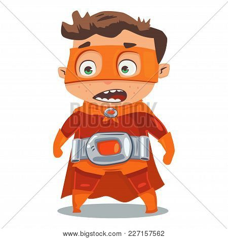 Superhero Kid In A Red Costume In Cloak And Mask. Vector Cartoon Character In A Retro Style On A Blu