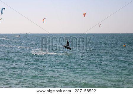 Kite Surfing On A Beach In Dubai. 2018