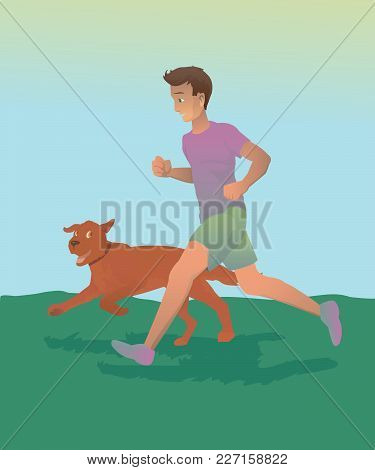Sport Runner With Dog In Nature, Vector Illustration