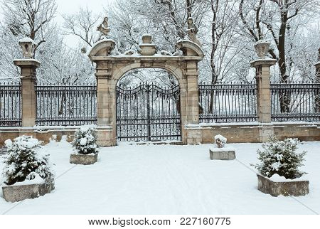 Gate On St. George Cathedral Early Morning Winter Courtyard In Lviv, Ukraine.