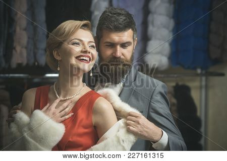 Couple In Love Among Fur Coat, Luxury. Business Meeting, Moneybags. Fashion And Beauty, Winter, Fur.