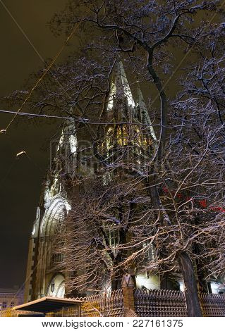 Beautiful Illuminated Night Winter Church Of Sts. Olha And Elizabeth In Lviv, Ukraine. Built In The