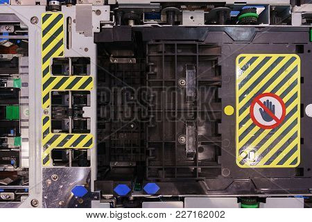 Servicing Of Special Banking Equipment. An Open Device For Demonstration Or Repair. Internal Arrange