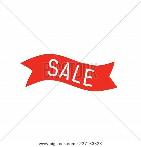 Sale Lettering On Red Ribbon. Inscription Can Be Used For Leaflets, Posters, Tags, Banners.