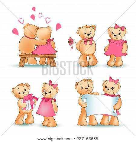Teddy Bears Collection, Couple In Love, Characters With Sheet Of Paper, Balloon In Shape Of Heart, P