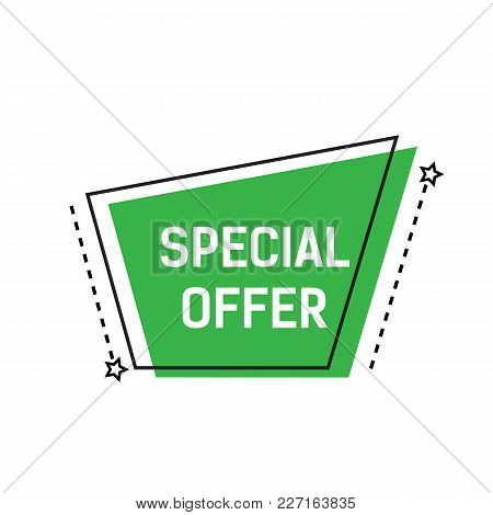 Special Offer Lettering On Green Abstract Shape With Dotted Lines And Stars. Inscription Can Be Used