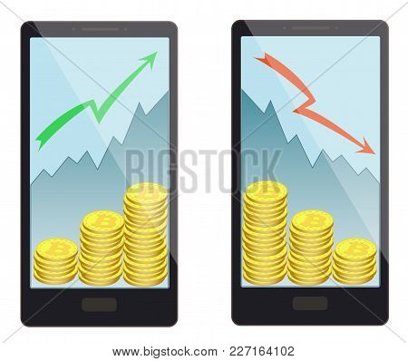 Buying And Selling Bitcoins In A Smartphone , The Price Increase Leads To An Increase In The Number