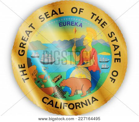 Us State California Seal Textured Proud Country Waving Flag Close