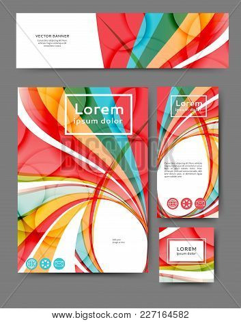 Set Of Promotional Flyers With Abstract Waves And Lines. Different Sizes