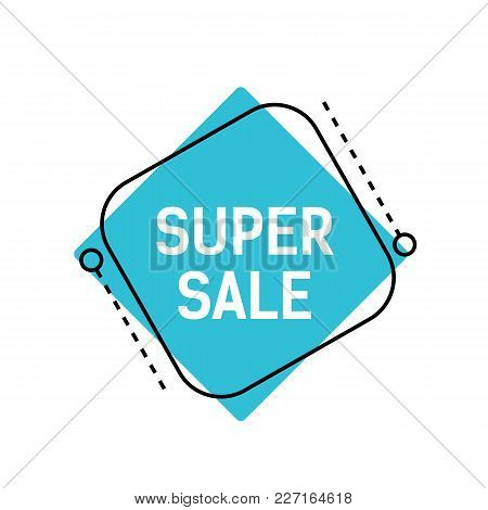 Super Sale Lettering On Blue Rhomb With Dotted Lines. Inscription Can Be Used For Leaflets, Posters,
