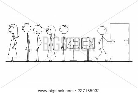 Cartoon Stick Man Drawing Conceptual Illustration Of Man Looking For Another Way Instead Of Waiting