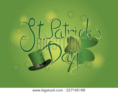 Typographic Happy Saint Patrick's Day Logotype. Vintage Vector Design Greetings Card Or Poster. Hand