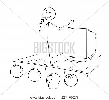 Cartoon Stick Man Drawing Conceptual Illustration Of Businessman Or Business Speaker Or Orator With