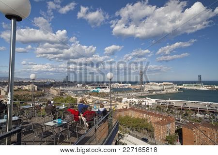 Barcelona,spain-april 20,2012: City View From Terrace Bar Of Miramar, Park Montjuic, Barcelona.