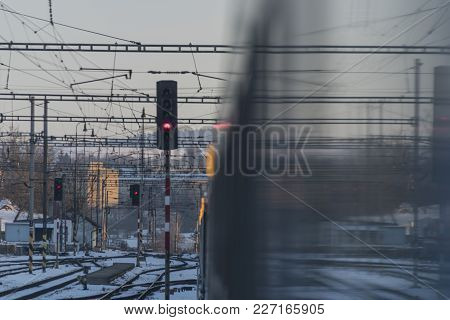 Lights On Passenger Coaches In Jihlava Station In Sunset Time