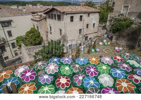 Girona,spain-may 12,2012: Decorated Umbrellas In Historic Center Of Catalan City Of Girona. In Sprin