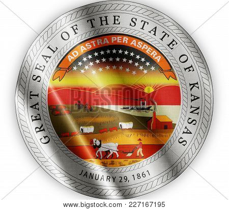 Us State Kansas Seal Textured Proud Country Waving Flag Close