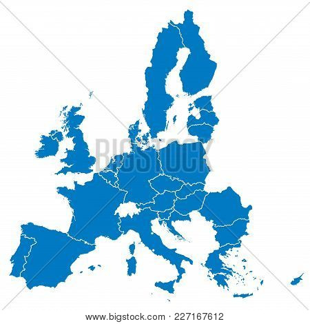 European Union, Isolated On White Background, With All Single Countries. All 28 Eu Members, Colored