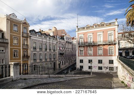 Lisbon-march 14,2012: Street And Buildings In Chiado District.