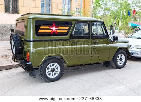 Samara, Russia - May 6, 2017: Special Russian Armored Vehicle Uaz-3152 Hussar Parked At The City Str