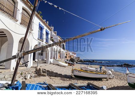 Calella De Palafrugell, Spain- October 29,2012: View Of Front Maritime And Beach Of Calella De Palaf