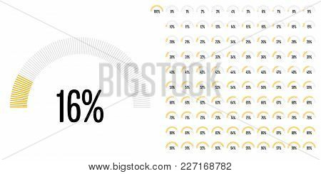 Set Of Semicircle Percentage Diagrams From 0 To 100 Ready-to-use For Web Design, User Interface (ui)