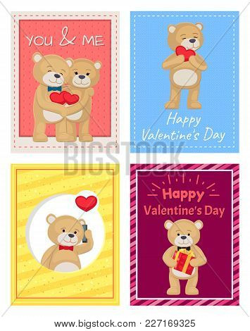 Happy Valentines Day Postcards With Teddy Bears In Bows On Neck Hold Soft Heart, Gift Box And Modern