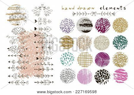 Big Set Of Vector Handdrawn  Texture And Vintage Wedding Elements. Arrow, Borders  And Hearts. Trend