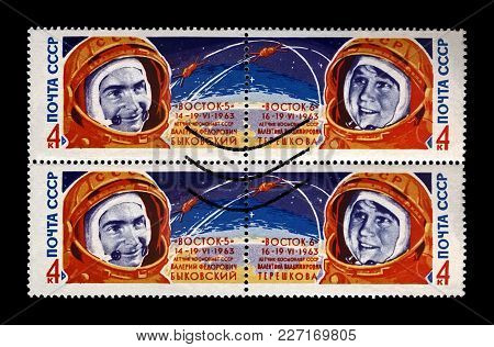 Moscow, Ussr - Circa 1963: Canceled Stamp Printed In Ussr (soviet Union) Shows Soviet Astronauts Val