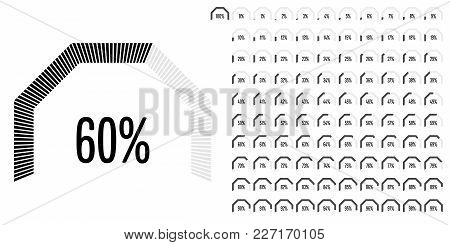 Set Of Circular Sector Percentage Diagrams From 0 To 100 Ready-to-use For Web Design, User Interface