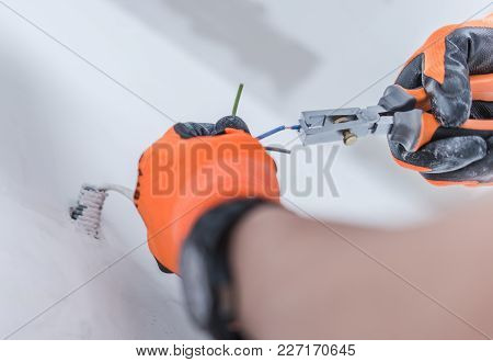 Electrical Points Installation. Electrician Work Closeup Photo.