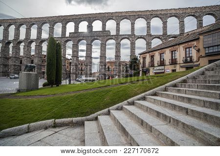 Segovia,spain-november 11,2012: The Roman Aqueduct Of Segovia.