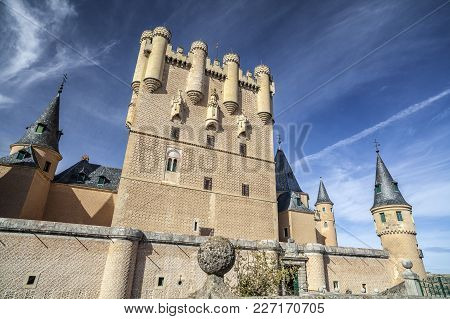 Segovia,spain-november 20,2012: Architecture, Building, Ancient Military Castle, Alcazar Of Segovia,