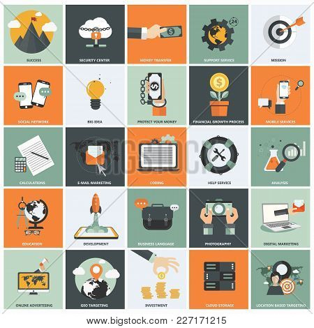 Set Of Flat Design Icons For Business, Support Service, Creative Process, Web Analysis, Business Lan