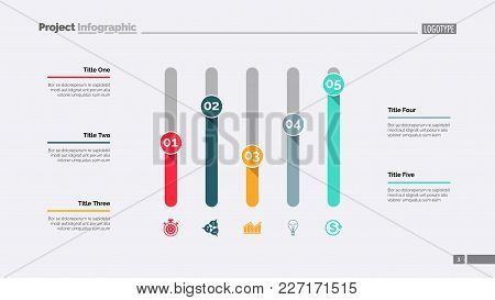 Five Columns Bar Chart. Business Data. Comparison, Diagram, Design. Creative Concept For Infographic